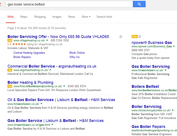 Screenshot of a google search with ppc ads showing london ads rather than NIreland ads