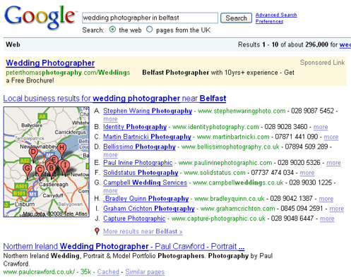 Google Local Search screenshot