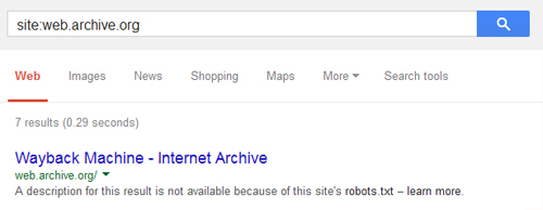 web archive robots file blocking search engines