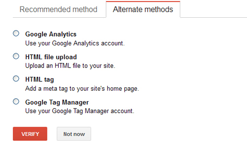 verifying your site in Google Webmaster Tools