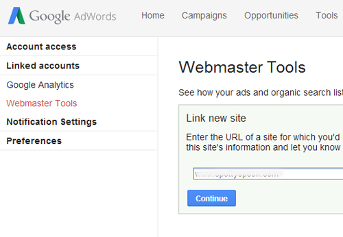 how to link adwords and google webmaster tools accounts