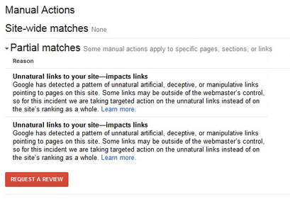 Google manual penalty warning in webmasters tools