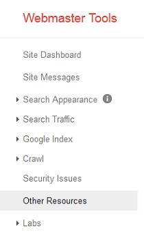 webmasters tools menu options