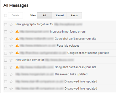 messages in google webmaster tools