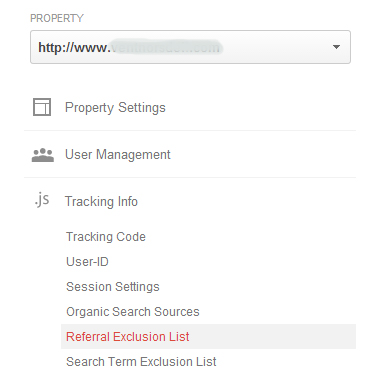 Google Analytics Referal Exclusion List