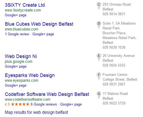 Google my business listings return for web design companies