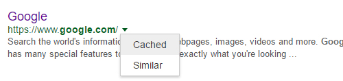 cache button in google