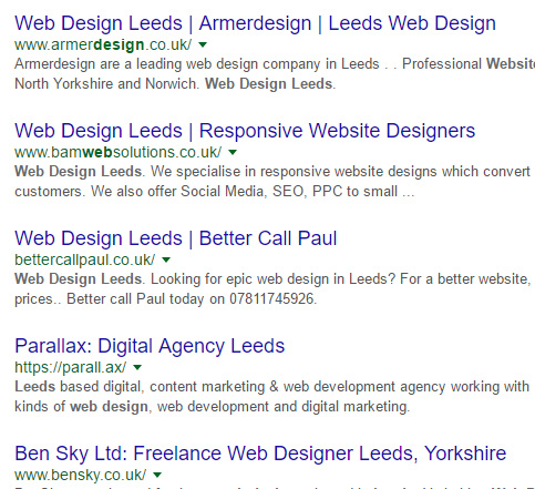 web design leeds SERPS