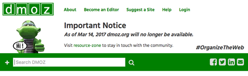 DMOZ Directory closed